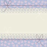 Horizontal lace frame with decorative hearts Stock Photography