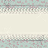 Horizontal lace frame with decorative leaves and flowers Stock Photo