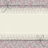 Horizontal lace frame with decorative tulips Royalty Free Stock Photography