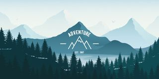 Horizontal Landscape with forest, lake and mountains. Vector illustration royalty free illustration