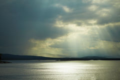 Horizontal landscape - sea in cloudy weather Royalty Free Stock Images