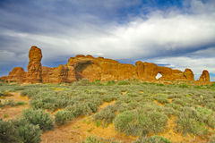 Horizontal landscape of Windows View formation in Arches Nationa Stock Photos