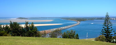 Horizontal landscapes of Manning river with breakwater Stock Photos