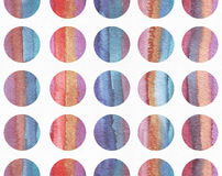 Horizontal large illustration with watercolor vertical stripes in seamless abstract background, based on circles texture. Vivid co. Lors, grainy texture, hand Royalty Free Illustration