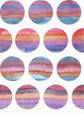 Horizontal large illustration with watercolor vertical stripes in seamless abstract background, based on circles texture. Vivid co. Lors, grainy texture, hand Royalty Free Stock Photos