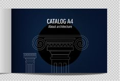 Horizontal. lineart design vector illustration ancient architecture stock illustration