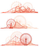 Horizontal lines of roller-coaster and Ferris Wheel. Set vector horizontal lines of red silhouettes roller-coaster and Ferris Wheel from amusement park Stock Images