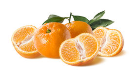Horizontal mandarin group with water drops  on white Royalty Free Stock Photos