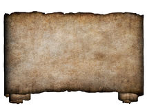 Horizontal manuscript1. A horizontal manuscript, rough roll of parchment paper with burnt and torn edges background texture royalty free illustration