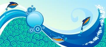 Horizontal marine banner. With fish Stock Photo