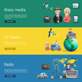 Horizontal Mass Media Bunners Set royalty free illustration