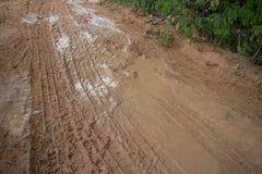 Horizontal Medium shot, muddy jungle road with significant vegetation visible at the corner. Horizontal Medium shot of a muddy jungle road with significant Royalty Free Stock Image