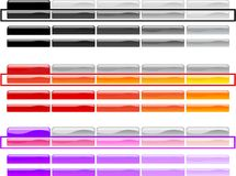 Horizontal Menu Buttons 2. Set of professionally designed horizontal menu and sub menu buttons in black, gray, silver, orange, red, violet, pink and purple color vector illustration