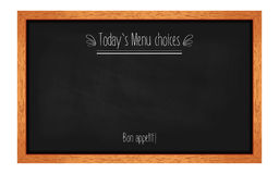 Horizontal menu chalkboard for cafes and restaurants. With an inscription. Realistic wooden frame. Vector illustration Stock Image