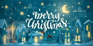 Horizontal Merry Christmas Card for winter holiday. Stock Photography