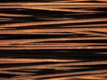 Horizontal metalic rods. Horizontal rusty metalic rods. Rods for construction Royalty Free Stock Photography