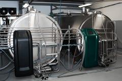 Horizontal milk tank. Milk cooling tank with horizontal storage. Storing and cooling milk in dairy farming royalty free stock photography