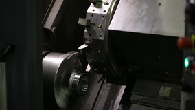 Horizontal milling machine, CNC with blade, layer of metal from rotating parts. Machining center CNC allows for complete machining of complex workpieces with stock video
