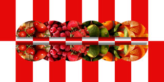 Horizontal mirrored semicircles with fruity textures. Set of six mirrored semicircles filled with fresh fruits: cherries, raspberries, strawberries, limes Royalty Free Stock Image