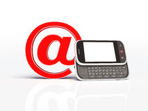 Horizontal mobile phone and email sign. isolated Royalty Free Stock Photos