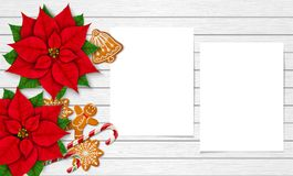 Christmas mock up on the white wooden background. Horizontal mock-up with Christmas items and two vertical paper sheets for your design. Poinsettias, gingerbread vector illustration