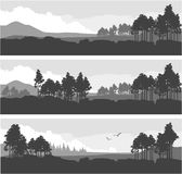 Horizontal mountain forest banner. Vector illustration set of horizontal banners fictional landscape twilight suburb of forest silhouettes trees black and white Royalty Free Stock Photos