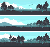 Horizontal mountain forest banner Royalty Free Stock Images