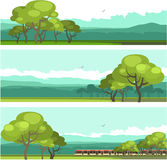 Horizontal mountain forest banner. Vector illustration set of horizontal banners fictional landscape twilight suburb of forest silhouettes trees blue color Royalty Free Stock Photo