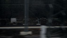Horizontal movement from train window stock video footage