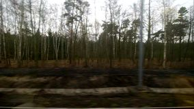 Horizontal movement from train window with forest stock footage
