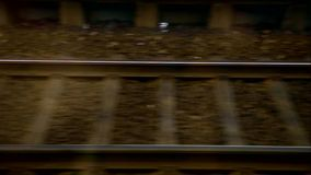 Horizontal movement from train window with railway stock video
