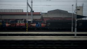 Horizontal movement from train window with train stock video footage