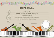 Horizontal musical diploma Royalty Free Stock Image