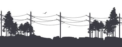 Horizontal nature banner. Vector illustration of horizontal banner fictional landscape silhouettes of trees against the sky black and white Stock Photos