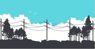 Horizontal nature banners. Vector illustration of horizontal banner fictional landscape silhouettes of trees against the blue sky Royalty Free Stock Image
