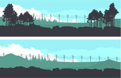 Horizontal nature banners. Vector illustration set of horizontal banners fictional landscape twilight suburb of forest silhouettes trees blue color Royalty Free Stock Images