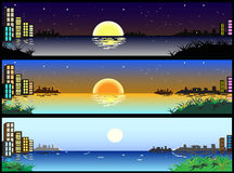 Horizontal night and day city banners. Vector image of beautiful horizontal night and day city banners Royalty Free Stock Photo