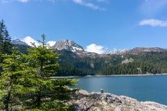 Horizontal normal montagnes corses de montagne de lac de laque du creno de France de la Corse Vue sur le lac noir en parc nationa image stock