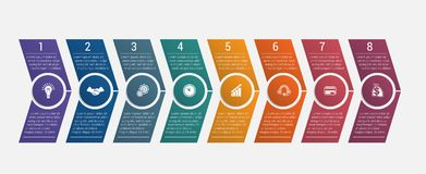 Horizontal numbered color arrows with text template infographic Royalty Free Stock Image