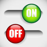 Horizontal On and off, power button at 2 states. UI, GUI element Royalty Free Stock Image