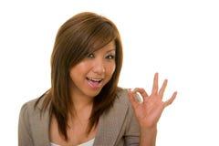 Horizontal A-OK de femme d'affaires Photographie stock