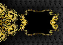 Horizontal openwork frame with mandalas, yellow gold. Black on gray background with small ornament Stock Photo