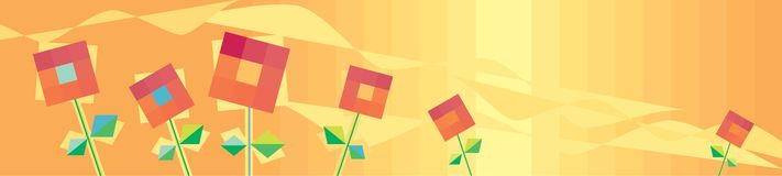 Horizontal orange background with red flowers Stock Images