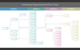 Horizontal Organizational Corporate Flow Chart Vector Graphic. Modern professional stylish vector corporate flow chart info graphic with customizable categories vector illustration