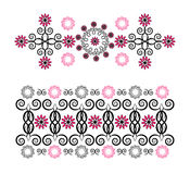 Horizontal ornament with flower. On white background Stock Photography