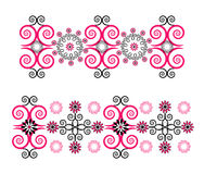 Horizontal ornament with flower. On white background Royalty Free Stock Photo
