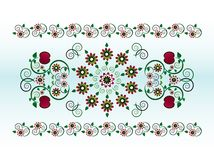 Horizontal ornament with flower Stock Image