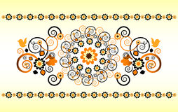 Horizontal ornament with flower. And curl Royalty Free Stock Photo