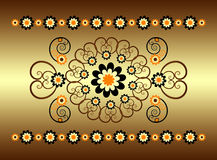Horizontal ornament with flower. And curl Stock Photography