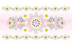 Horizontal ornament with flower. And heart Stock Images